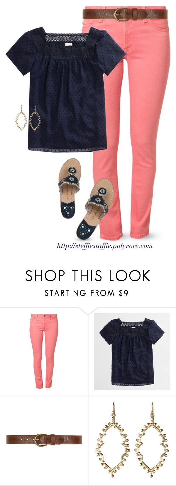 """""""Coral & Navy"""" by steffiestaffie ❤ liked on Polyvore featuring DL1961 Premium Denim, J.Crew, Dorothy Perkins, Jack Rogers and happybirthdaycathleen"""