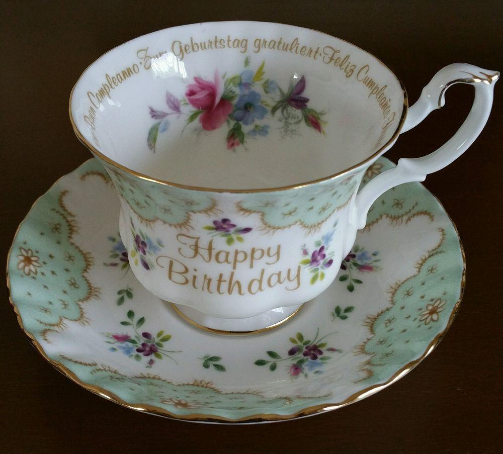 Vintage Rare ROYAL ALBERT Happy Birthday Teacup Saucer Set