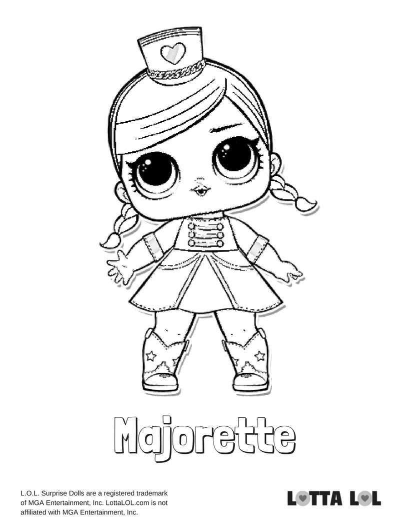 Majorette Coloring Page Lotta Lol With Images Unicorn Coloring