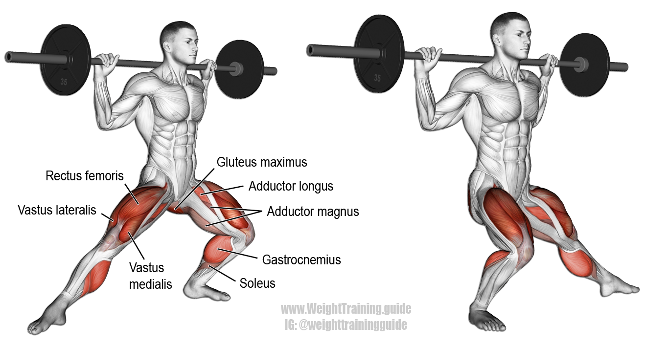 Barbell side lunge. A compound unilateral lower-body ...