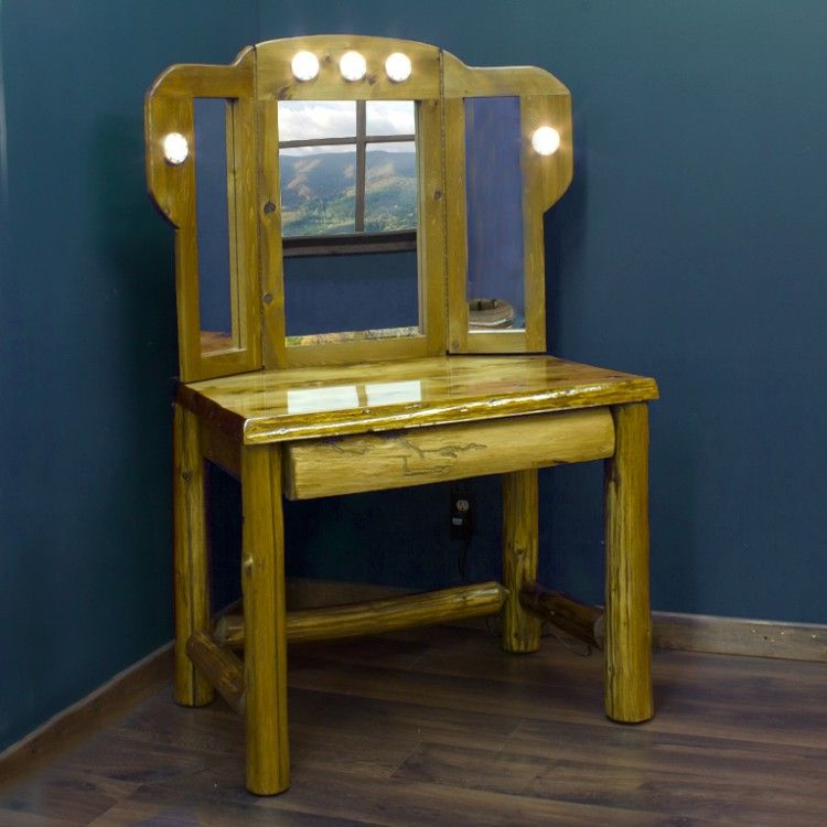 tri fold mirror vanity set. Rustic Cedar Log Makeup Vanity with Tri Fold Mirror  House