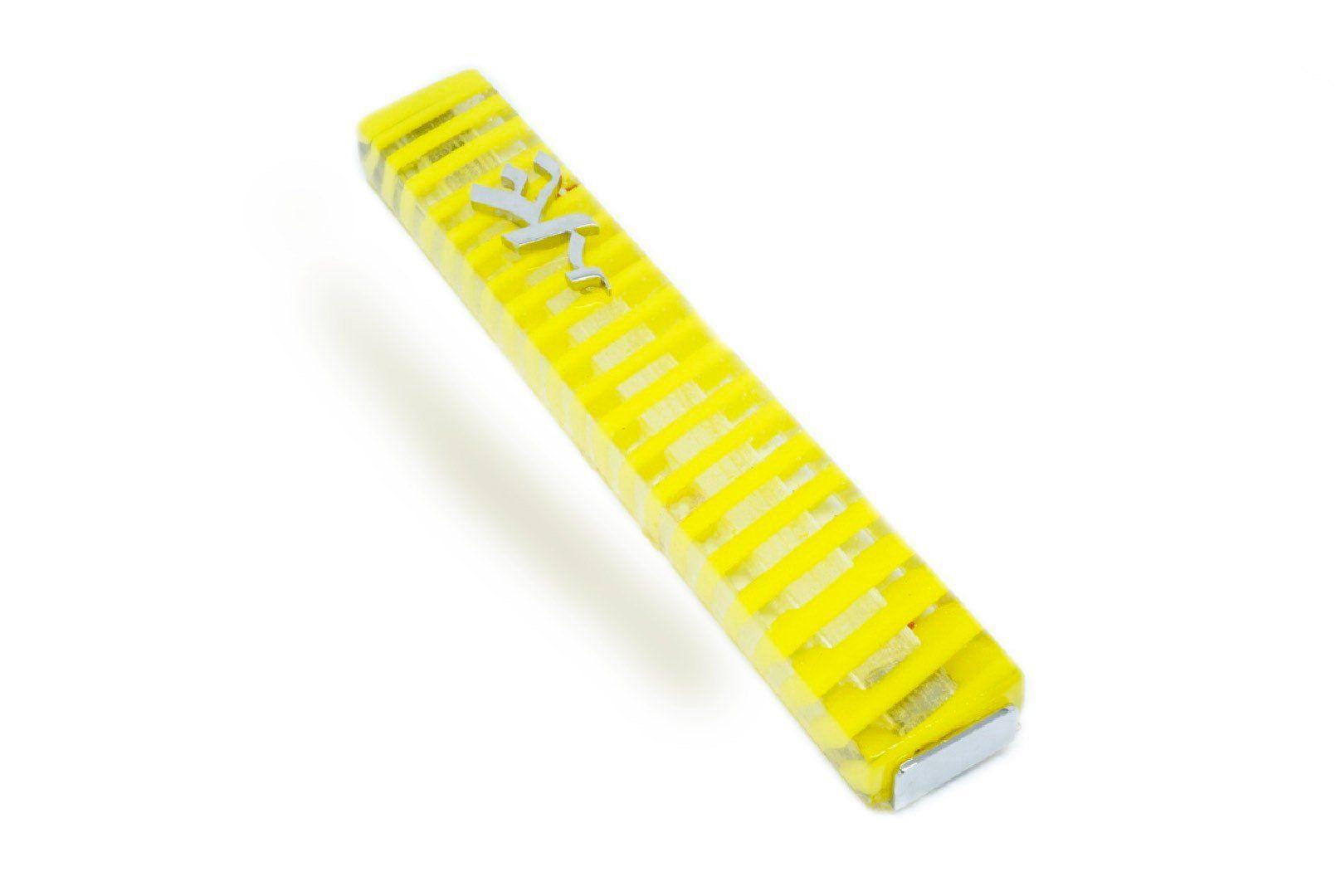 Mezuzah cover Judaica art jewish wedding gift yellow with