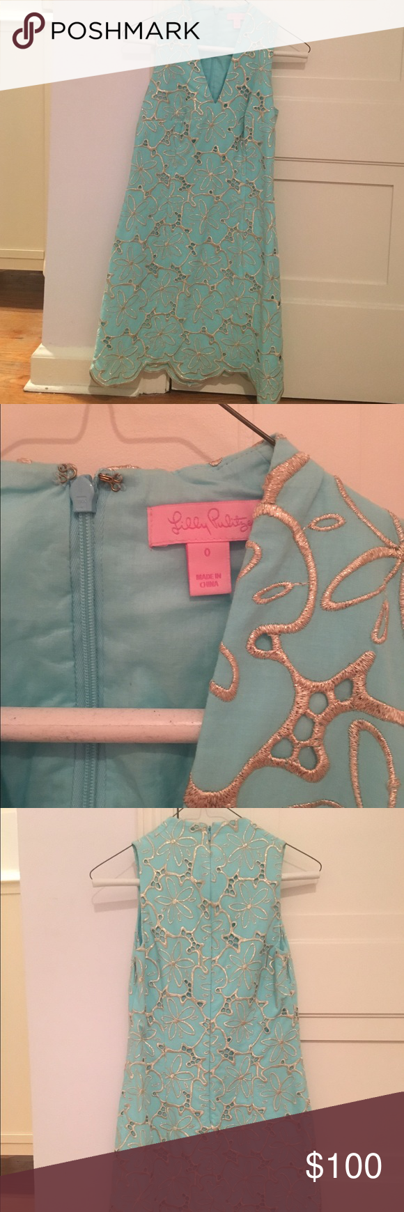 Lily Pulitzer Shift Dress Light blue Lilly Pulitzer shift dress with gold piping. Worn only twice, in perfect condition. The bottom has scalloped detailing. Open to offers Lilly Pulitzer Dresses