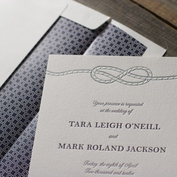 Wonderful Classic Nautical Wedding Invitation. Letterpress Printed By Bella Figura.  Shown With Navy Envelope Liner