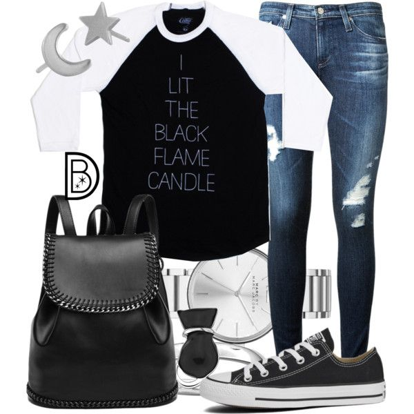 """Cake x DB's """"Black Flame Candle"""" Raglan by leslieakay on Polyvore featuring polyvore, fashion, style, AG Adriano Goldschmied, Converse, Marc by Marc Jacobs, Social Anarchy, Halloween, disney, disneybound and hoscupocus"""