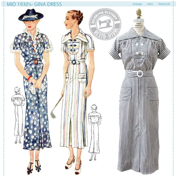 Mid 1930\'s Gina Dress Pattern | Vintage Sewing Patterns | Pinterest ...