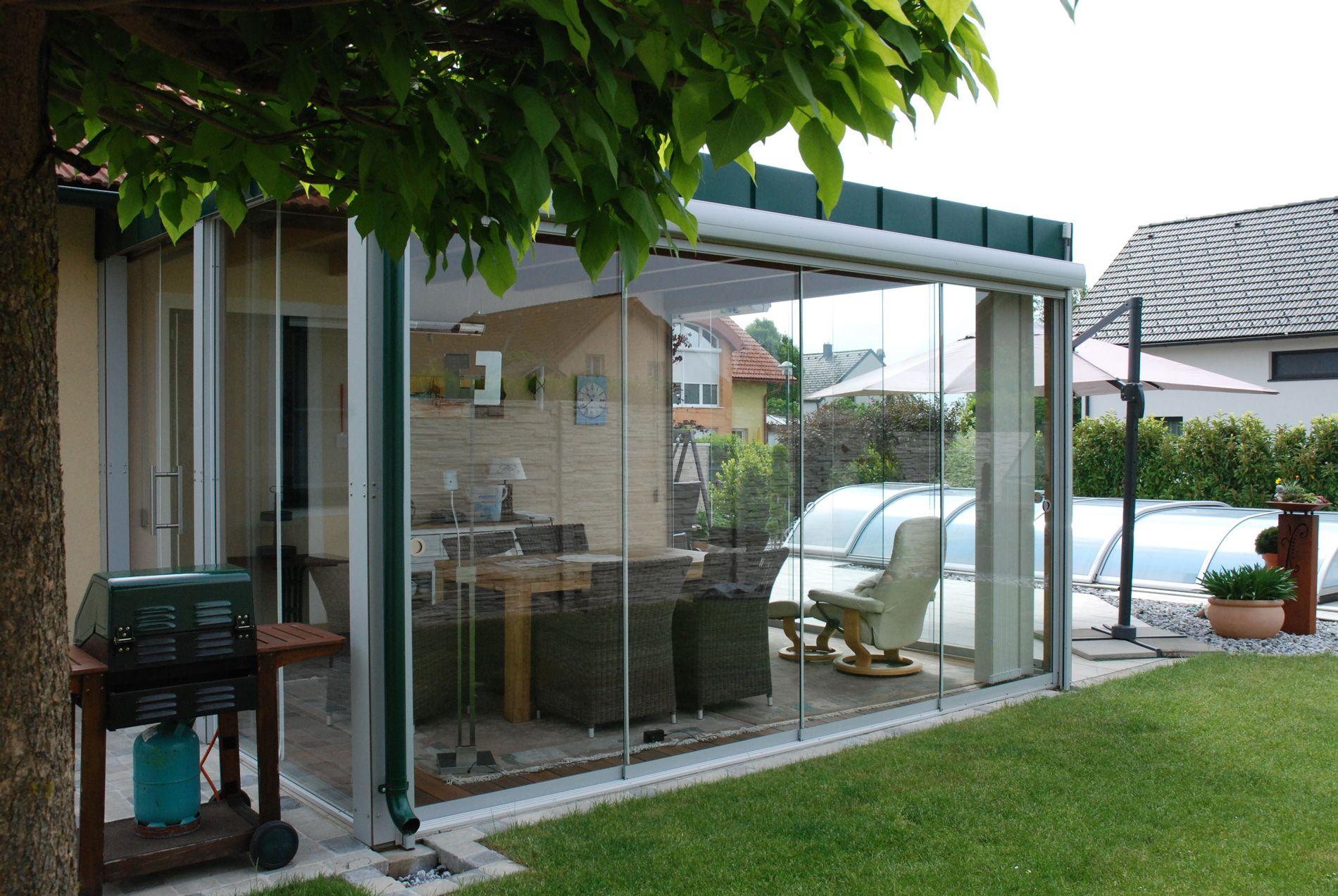 Wintergarten Anbau Windschutz Terrasse Glas Windschutz Terrasse