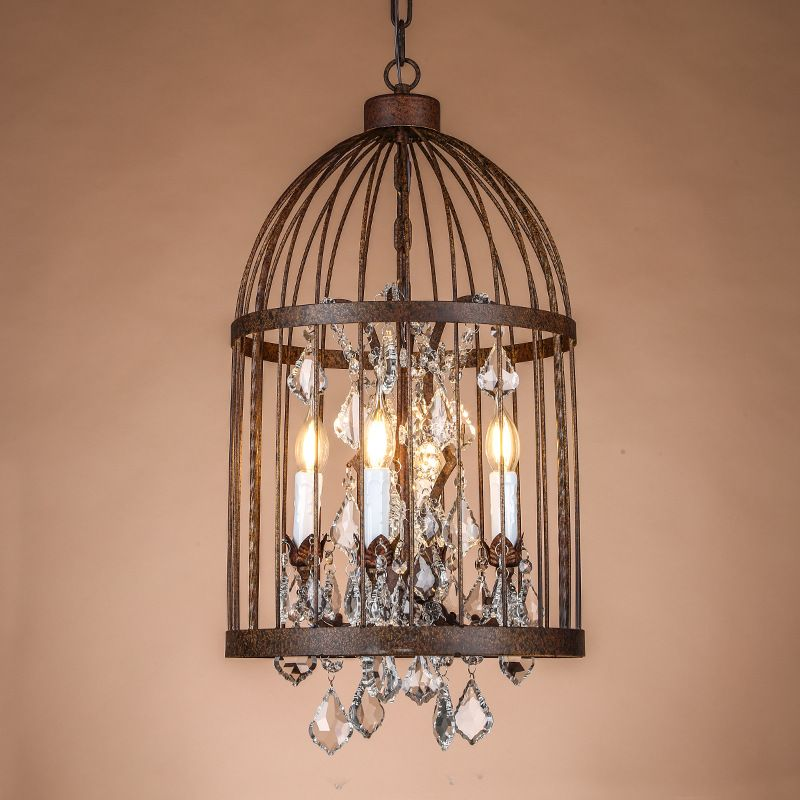 Retro Vintage Rust Wrought Iron Cage Chandeliers French Empire Style Crystal Chandelier Lamp Hardware Lighting You Can Get Additional Details At The Image