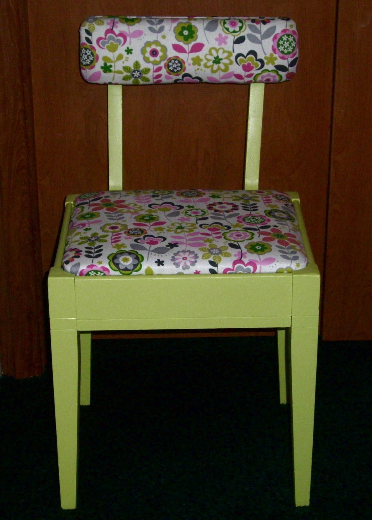 vintage sewing chair after