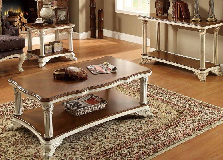 Casanova ii rich cherry white wood coffee table set