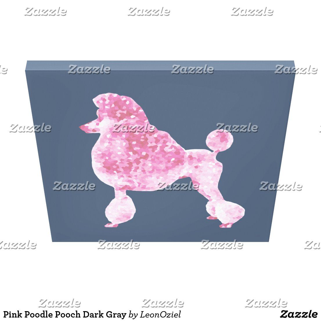 Pink Poodle Pooch Dark Gray Canvas Print Dog Canvas Art Dog Canvas Canvas Art Prints