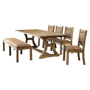 Solid Pine Wood Dining Set Light Oak