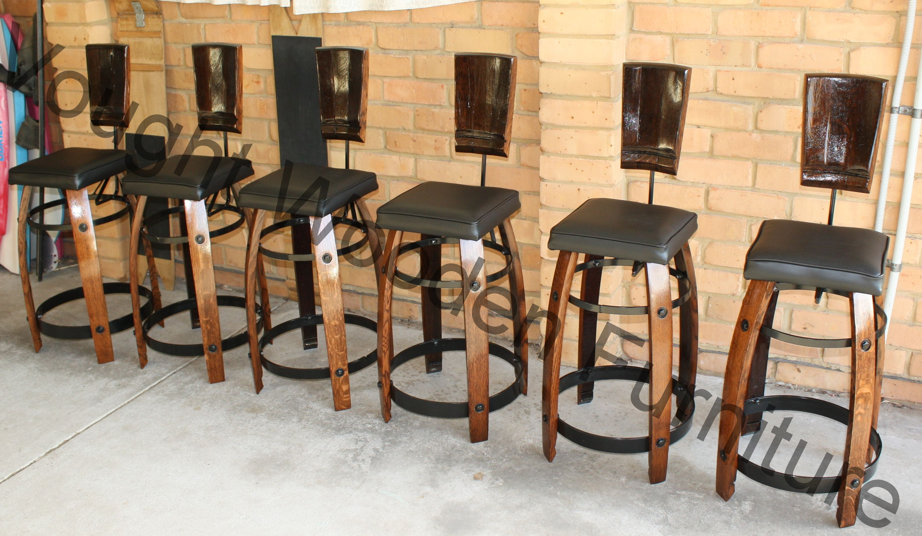 Bar Stools Legs Of The Chairs Are Built From Wine Barrel Staves
