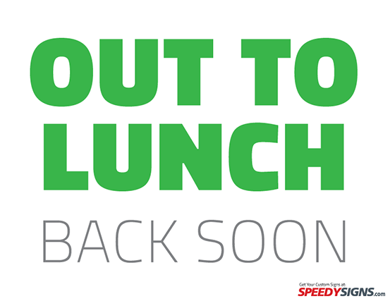 picture relating to Printable Out to Lunch Sign named Absolutely free Out in the direction of Lunch Back again Shortly Printable Signal Template Absolutely free