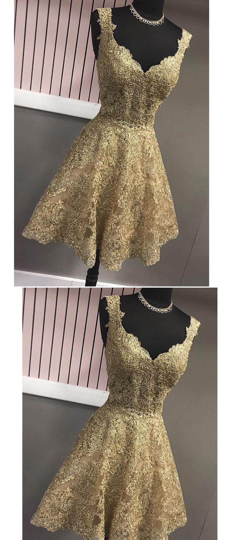 Gold lace homecoming dress th grade graduation gown with straps
