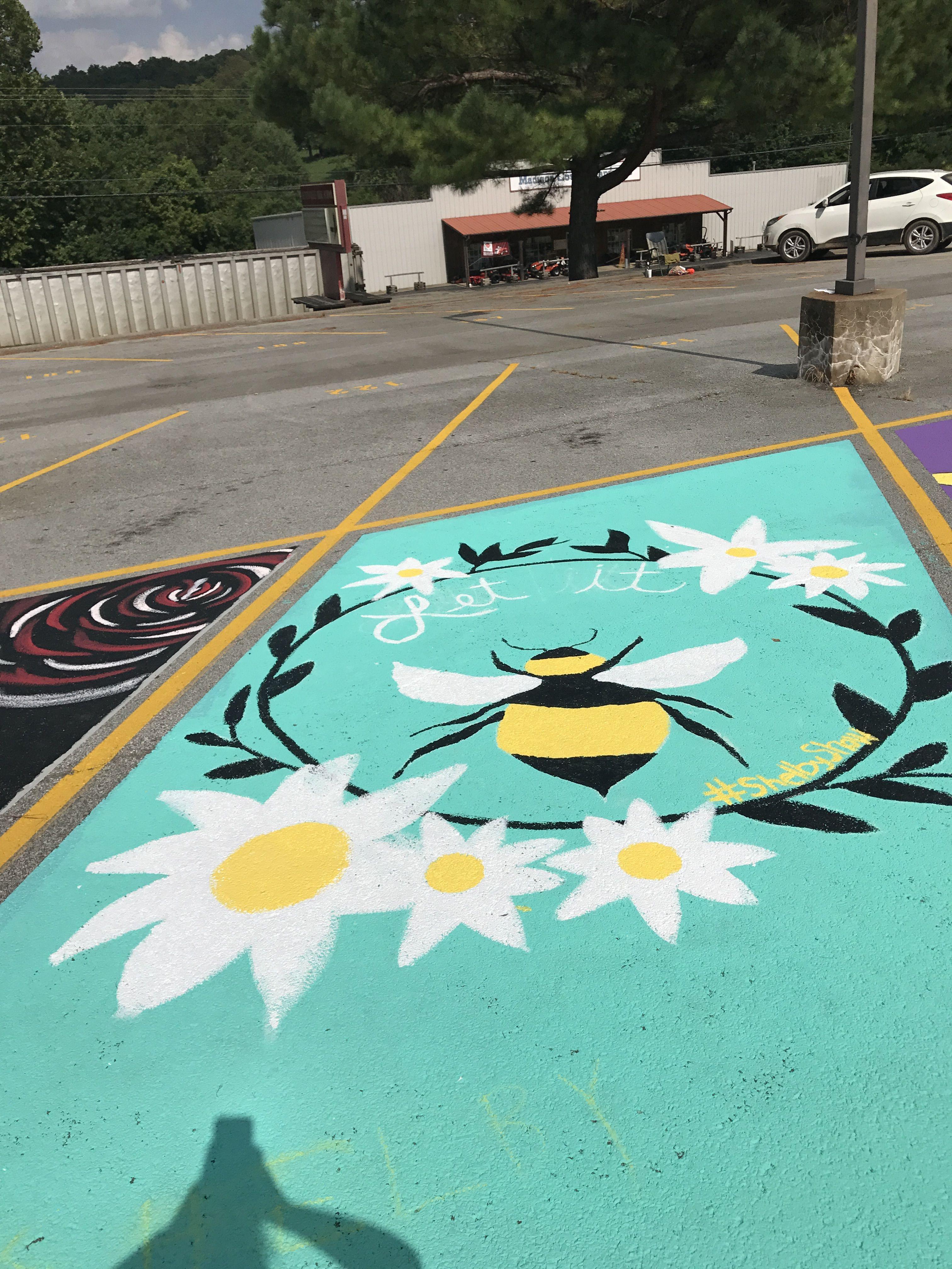 parking spot lot painting senior space let seniors chalk uploaded user murals