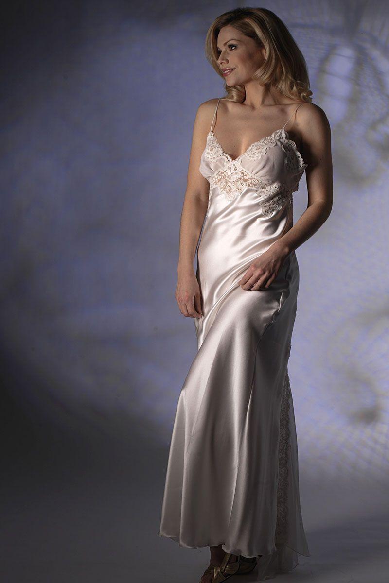55fa7d2da3b92 Jane Woolrich Nightdress 73718 A beautiful silk satin nightdress cut on the  bias so that it