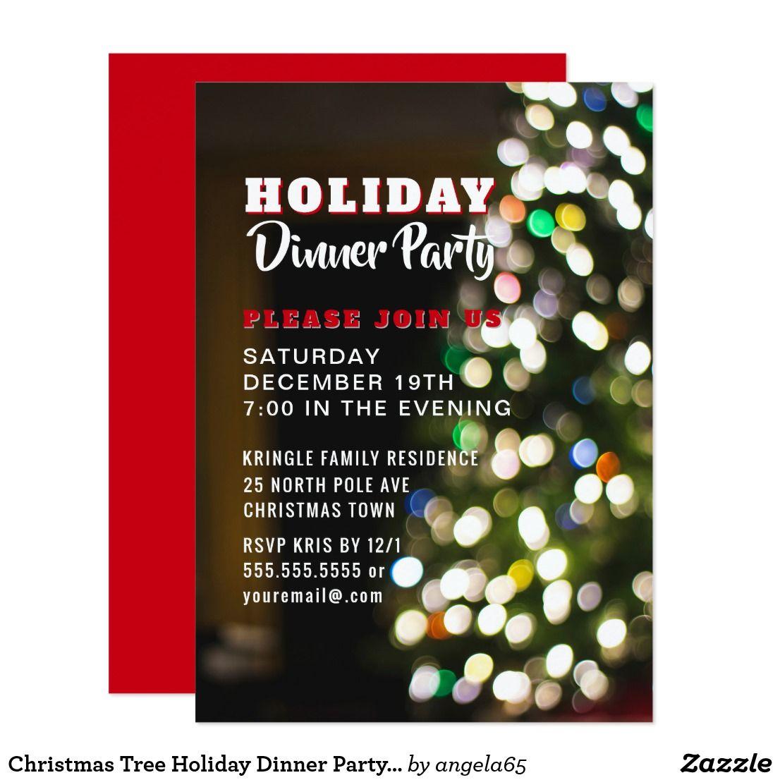 Christmas Tree Holiday Dinner Party Invitation   Christmas Closet ...