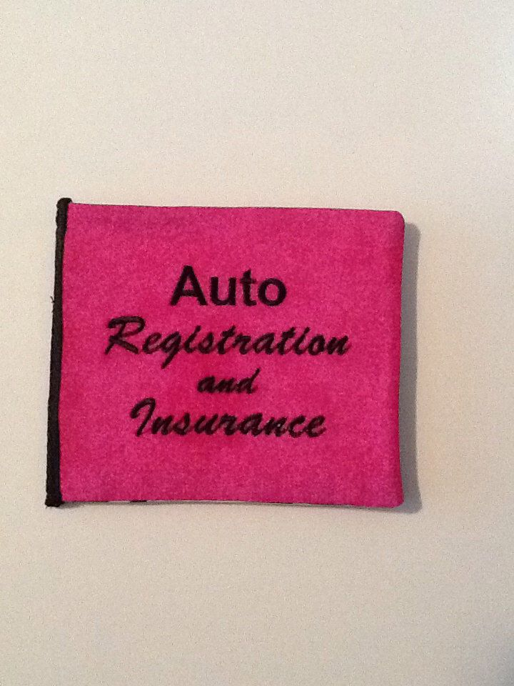 Embroidered pink and zebra auto registrationinsurance