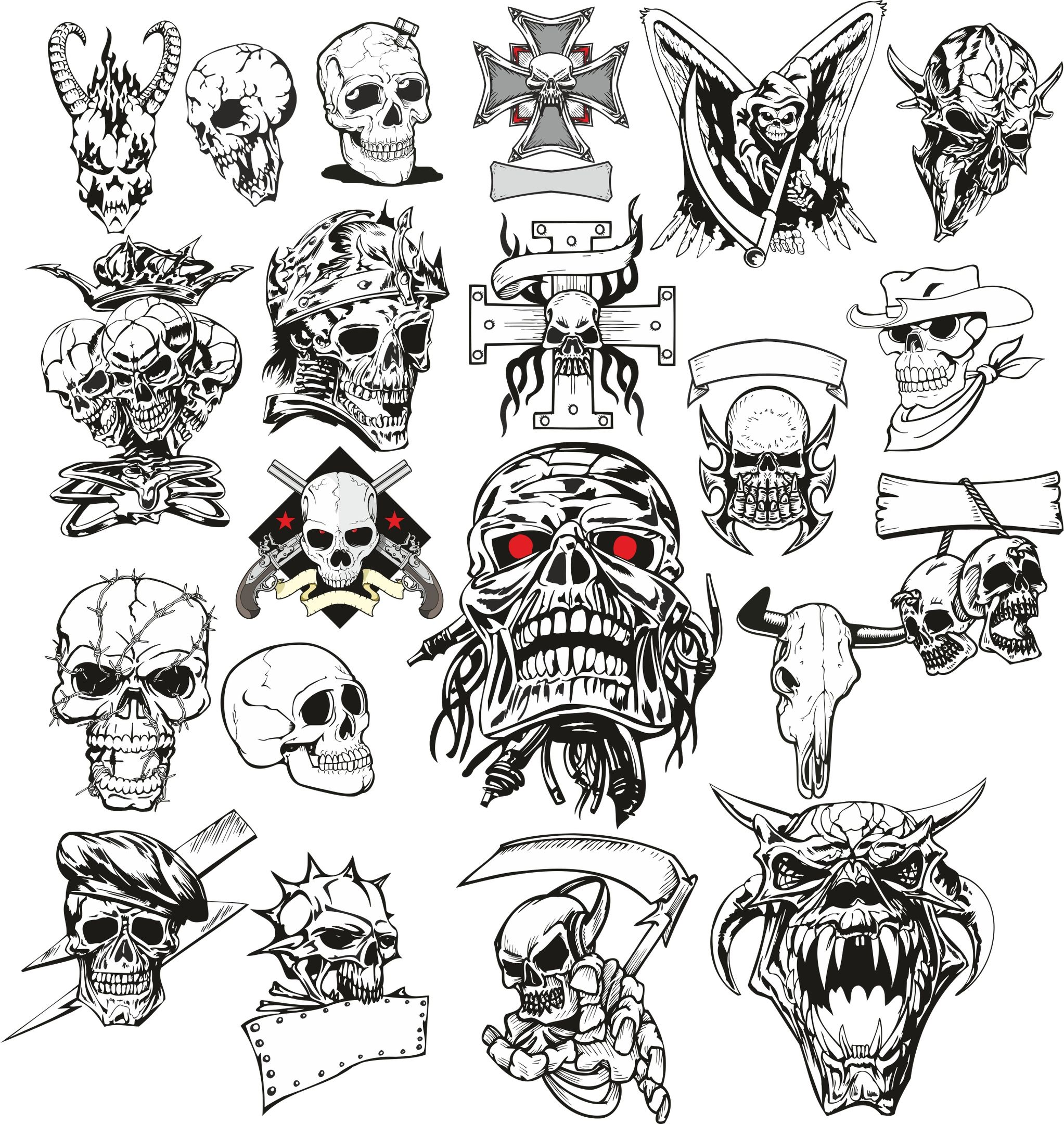 Angry Skull Vector Set Free Vector cdr Download Skull