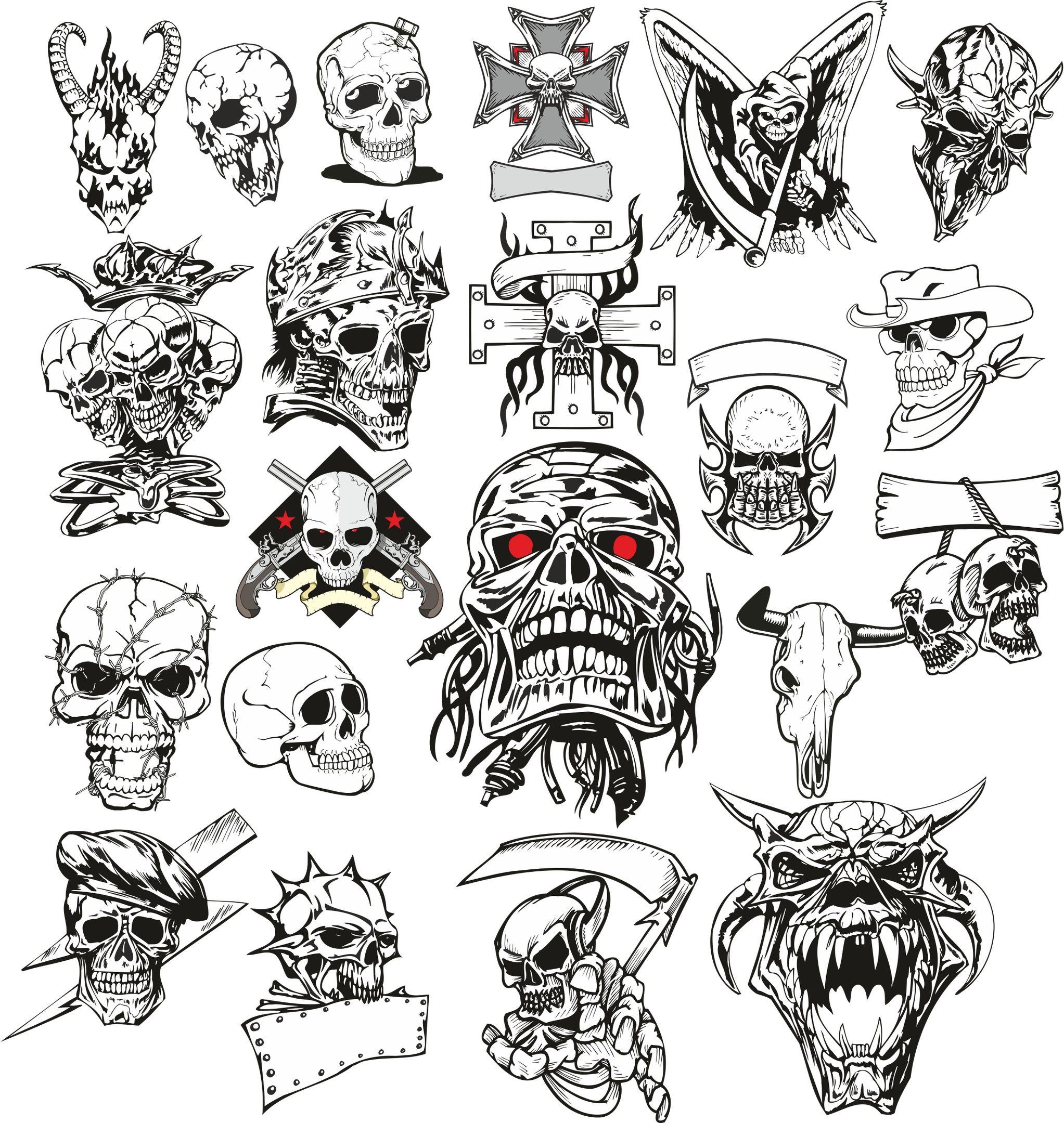 Angry Skull Vector Set Free Vector Cdr Download 3axis Co Skulls Drawing Skull Tattoo Design Skull Tattoos