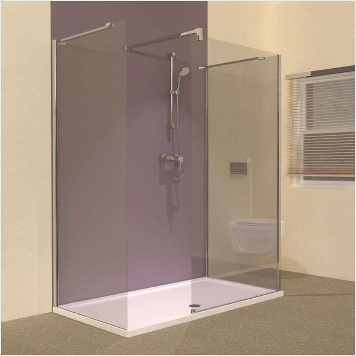 Line frameless walk in shower 3 sided enclosure 1600 x for Walk in shower tray