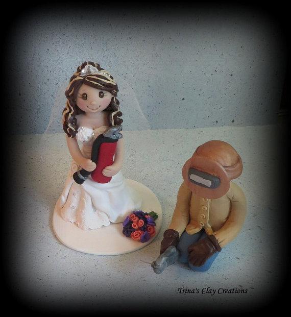 Wedding Cake Topper Custom Cake Topper by trinasclaycreations