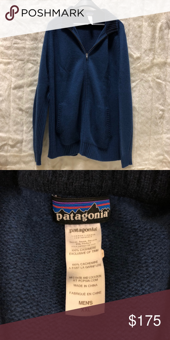 e64ca3de Mens XXL Patagonia Cashmere 1/4 Zip Sweater Like new 100% recycled cashmere  1/4 zip blue sweater, navy collar Patagonia Sweaters