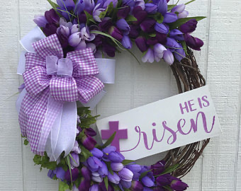 Photo of Easter wreath, tulip wreath, grave cross, Christmas decoration, tulip cross, creations by Gwili