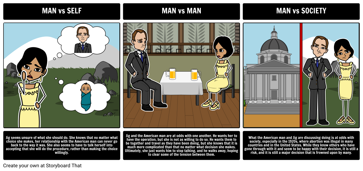 Hills Like White Elephants By Ernest Hemingway Literary Conflict For This Activity Have Your Students Choose An Exampl Man Vs Society Man Vs Man Activities