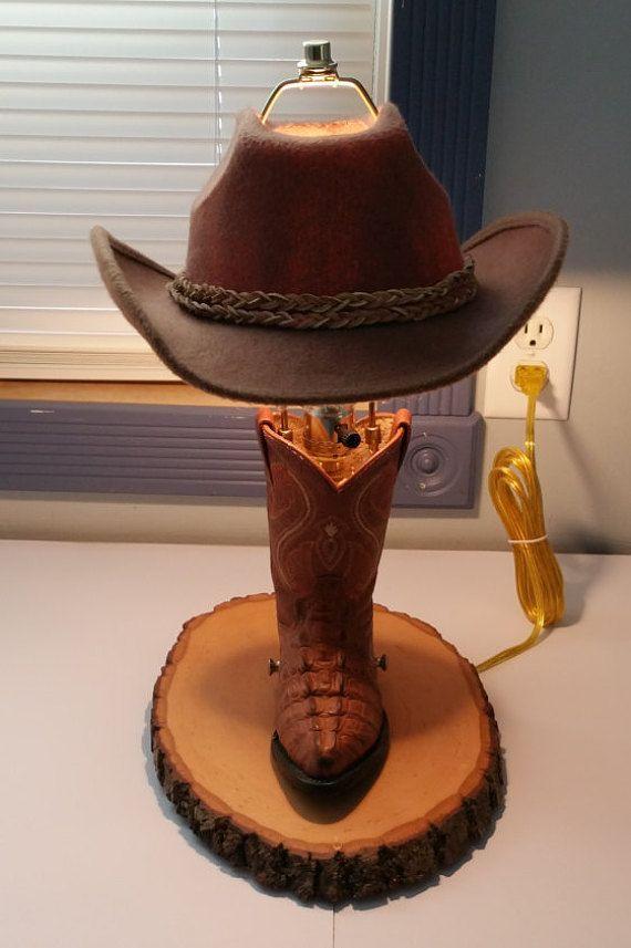 Cowboy Boot Lamp Handmade Ooak Unique Cowboy Boot Crafts Cowboy Rustic Old Boots