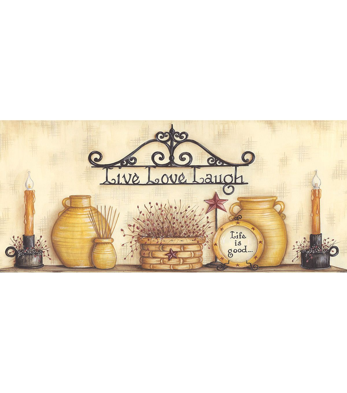 The Good Life Beige Country Life Wallpaper Border
