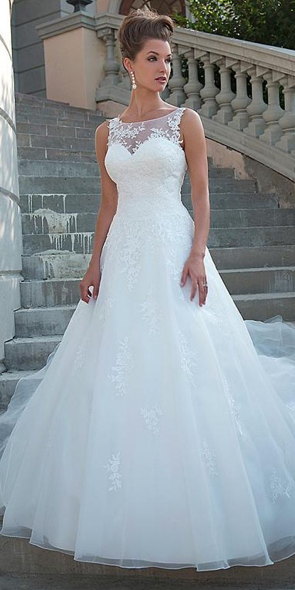 [198.50] Chic Tulle Scoop Neckline Natural Waistline A-line Wedding Dress With L…