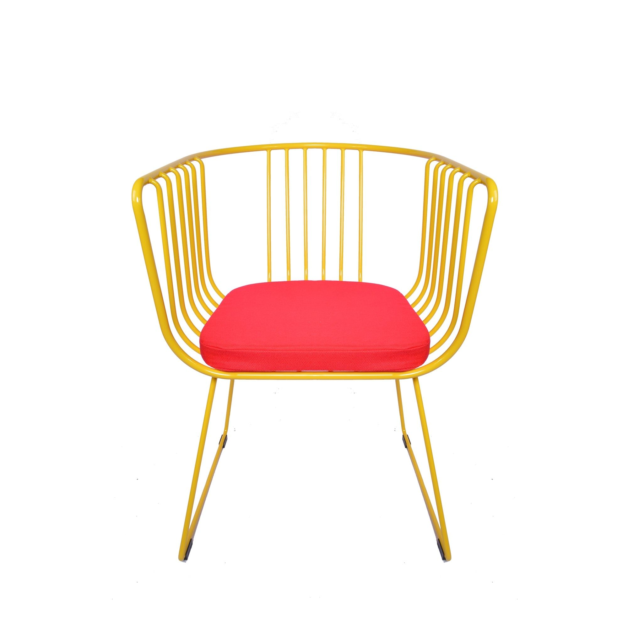 Charming Funky Wire Tub Feature Chair Red With Blue Cushion   From MDM Furniture.  Available Now