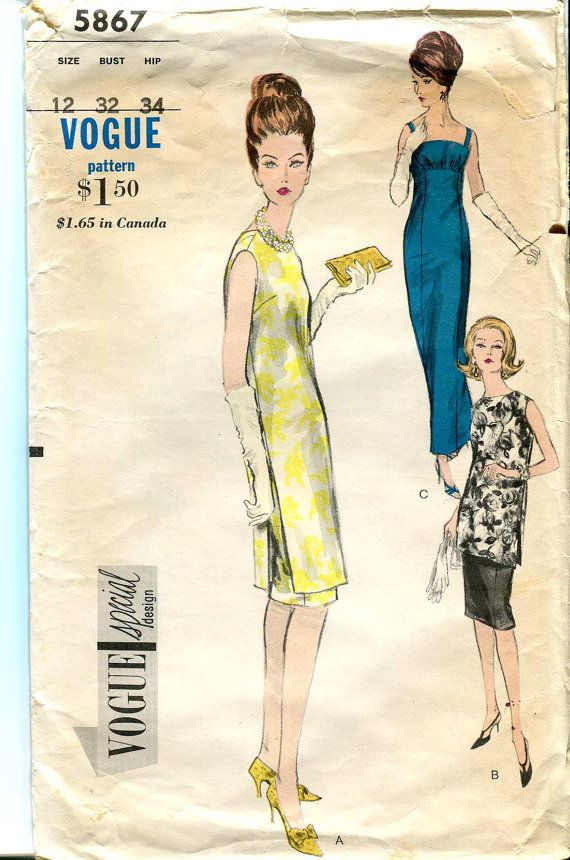 Vogue Special Design 5867 Vintage 60s Sexy Column by bellaloona ...