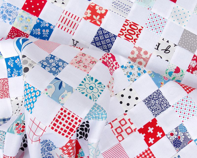 Red White and Blue Postage Stamp Quilt almost 150 different fabrics - tutorial available   Red Pepper Quilts 2016