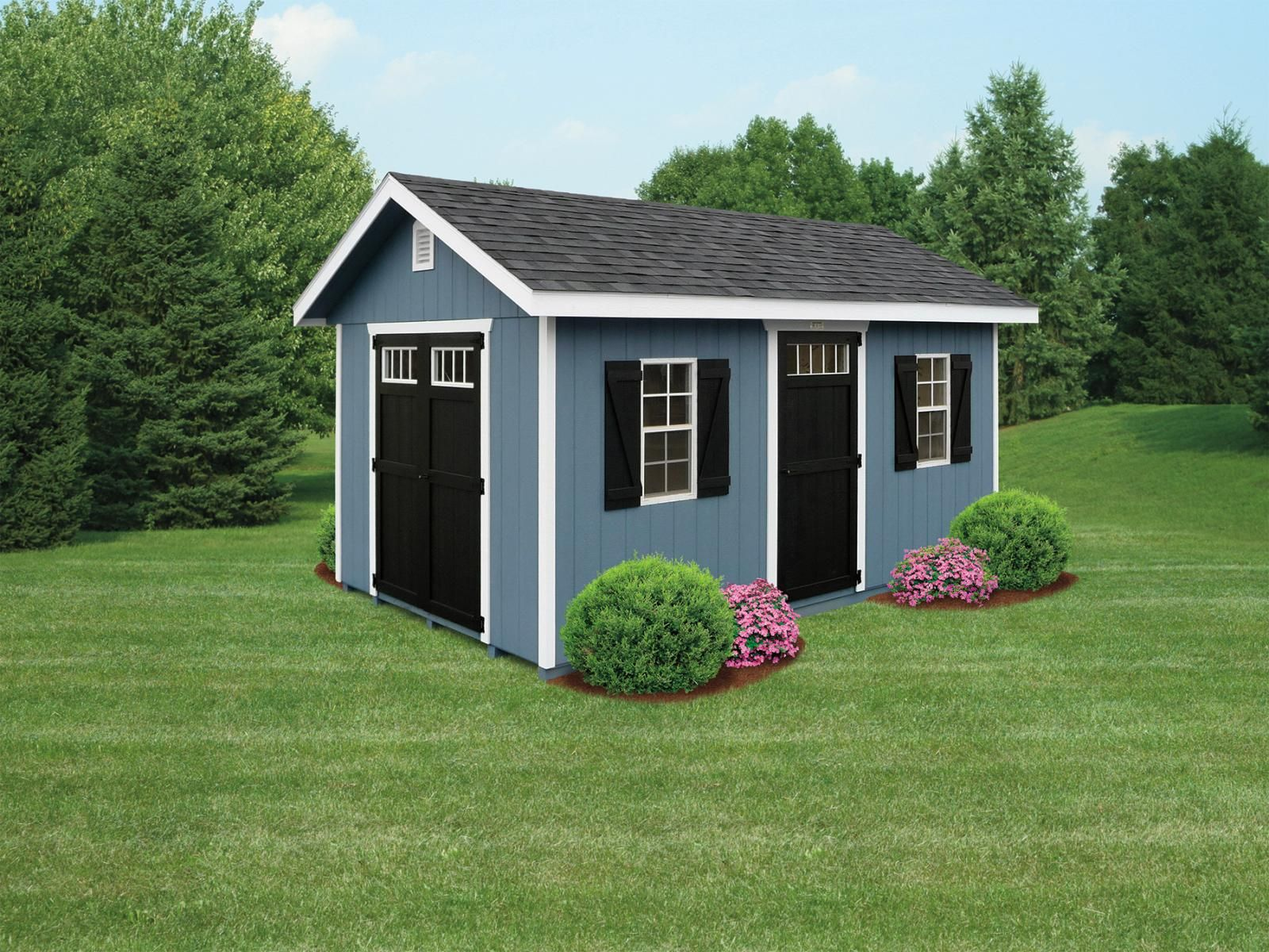 Magnificent Blue Wood Storage Shed 2 Windows With Z Shutters