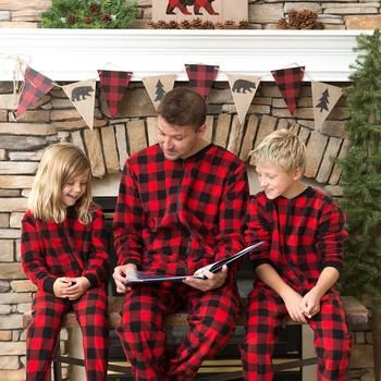 e224bb933 SleepytimePjs Family Matching Fleece Red Plaid Onesie Footed Pajamas ...