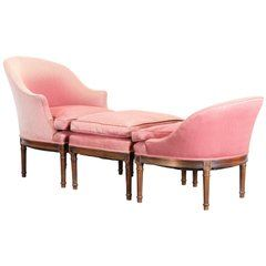 1920 French Bed Full-sized Louis Xvi Cream Wood Pink Silk Velvet Up Furniture Antiques