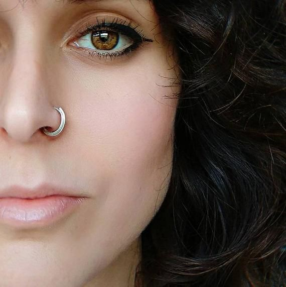 Silver Nose Ring/Handmade Nose Hoop/ Eco-friendly Body Jewellery/ Custom-made Septum Adornment/ Boho #nosering