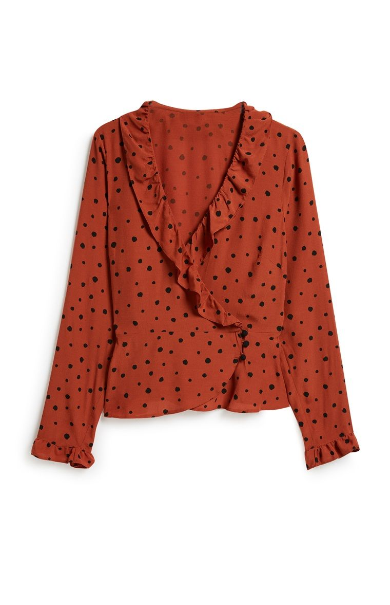 rode blouse met ruches