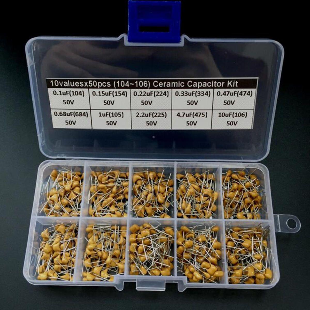 500pcs Multilayer Ceramic Capacitor 10 Values X50 0 1uf 10uf 104 106 Assorted Kit Box Capacitor Ceramics Capacitors