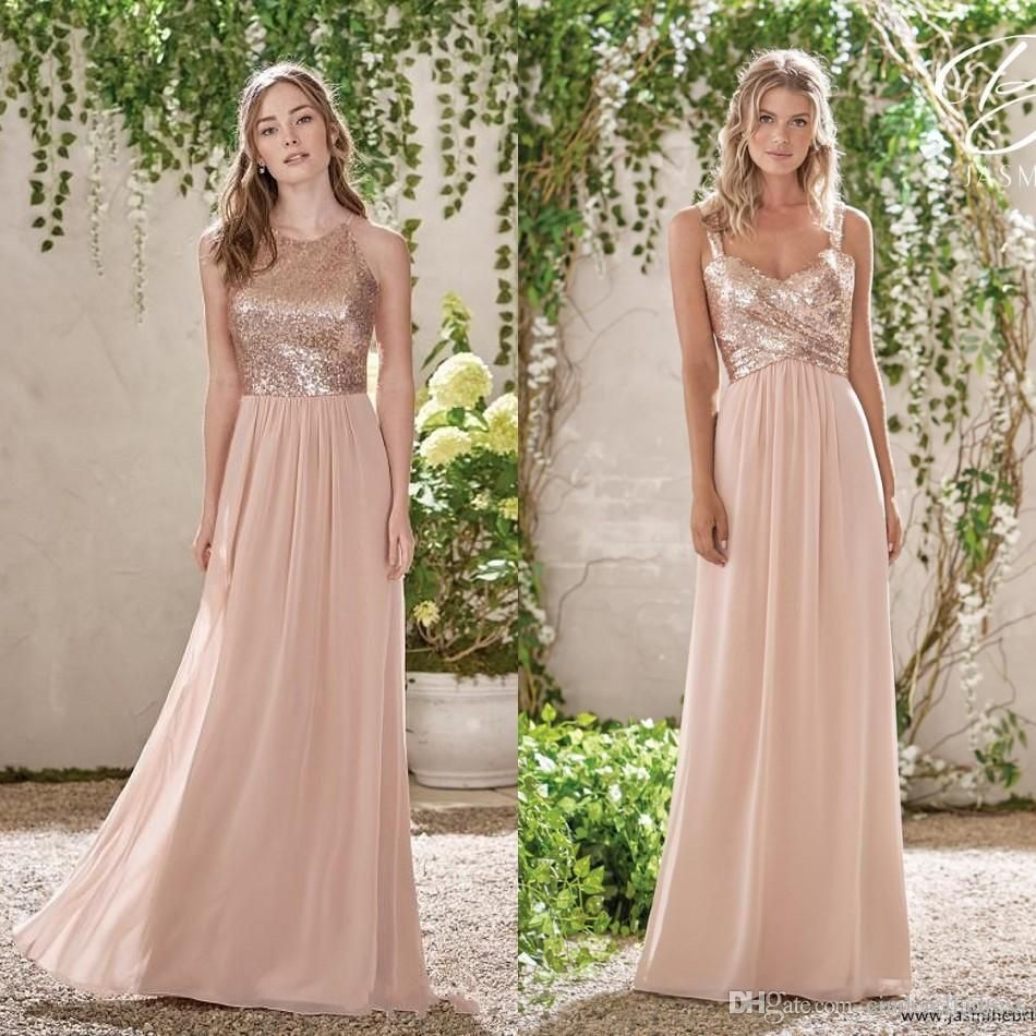 67c852882c Cheap Rose Gold Sequins Top Long Chiffon Beach 2017 Bridesmaid Dresses  Halter Backless A Line Straps Ruffles Blush Pink Maid Of Honor Gowns Dresses  For ...