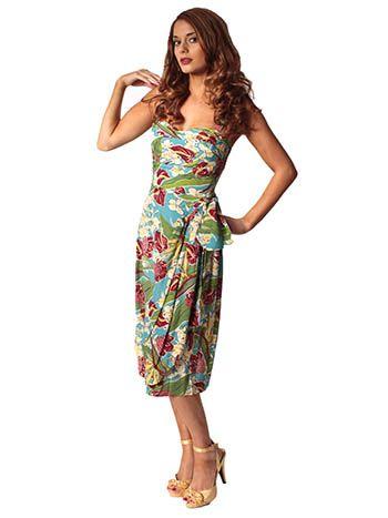 50s Inspired Vintage Hawaiian Print Sarong Dress Vintage