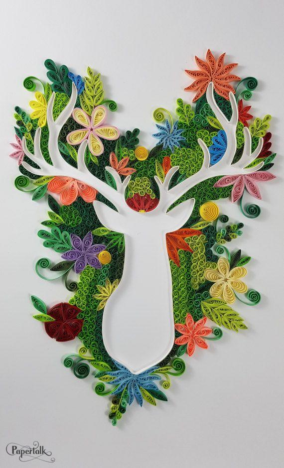 Photo of Items similar to Buck Deer Head Silhouette Floral Handmade Elegan
