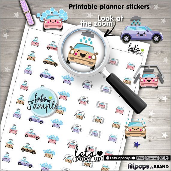 Car Wash Stickers Printable Planner Cleaning Kawaii