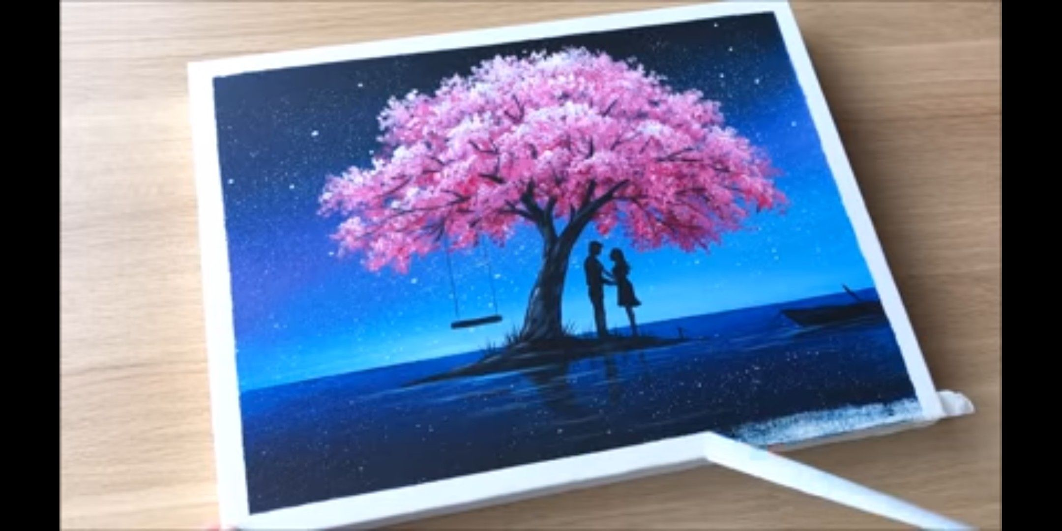 Couple In Love Cherry Blossom Painting Painting Art Drawings