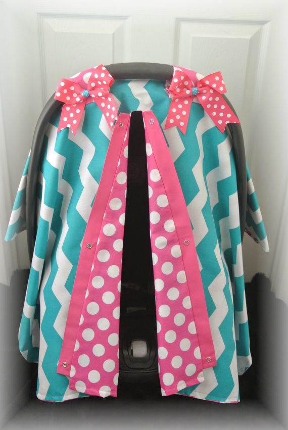 etsy transaction car seat canopy car seat cover chevron teal pink polka dot baby. Black Bedroom Furniture Sets. Home Design Ideas