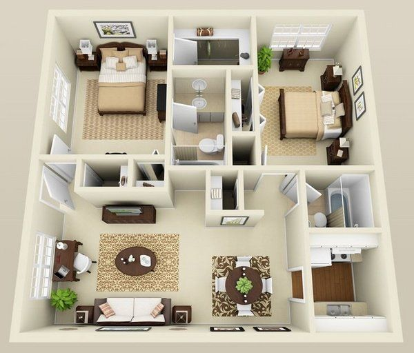 Small home plans design two bedroom apartment design ideas for 2 bathroom tiny house