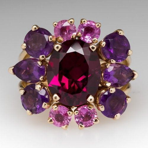 Red Garnet Amethyst and Tourmaline Cocktail Ring 14K Gold